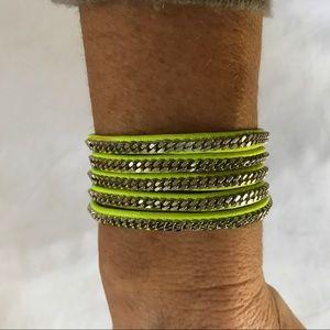 Vita Fede neon green wrap bracelet